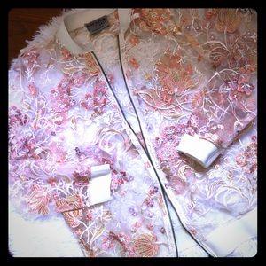 Ruff Hewn Transparent Floral Bomber Jacket
